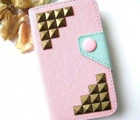 Brass Pyramid Studded Pink Plastic PU Leather iPhone 4 Flip Wallet Cover , iPhone 4S Hard Case