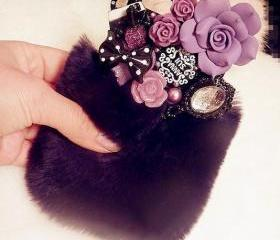 Luxury Fur With Bling Bling Deco Rhinestone Case Iphone 4 4s