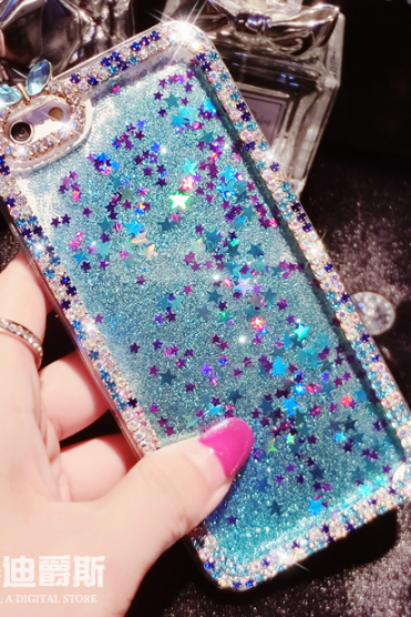 Luxury Handmade Blue Glitter Star Liquid Back Phone Case Cover for apple iPhone 5 5C 5S 6 Plus