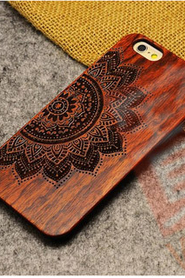 Natural Wood Wooden Hard Phone Case Cover Protect For Apple iphone 6 6s PLUS/5S 5-Flower
