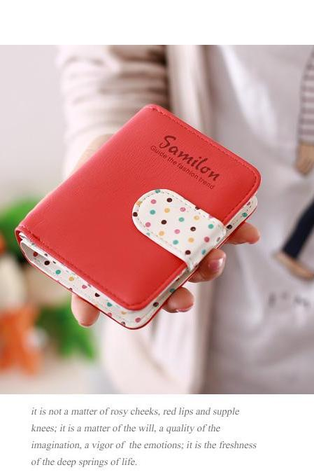 2015 new fashion short PU leather women cute purse wallet card holders handbag