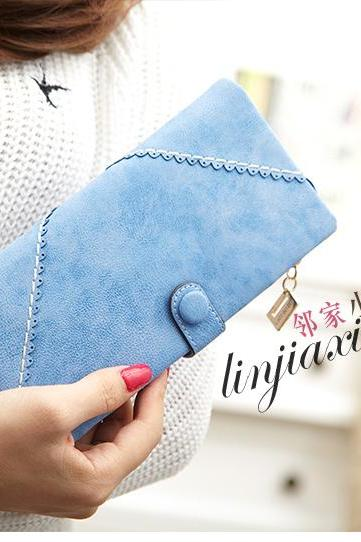 new fashion women clutch bifold frosted retro wallet handbag card holder purse
